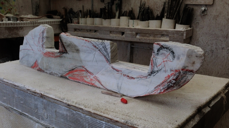 'Nessie', early stages of carving, Colorado Yule Marble by Martin Cooney