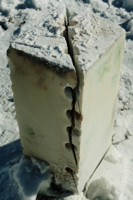 Splitting Girl in the Moon & Salt of the Earth, Hand Carved Marble Masks, by MARTIN COONEY, rough blocks.