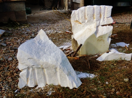 Curvilinear Campfire / Troglodyte Cloister, Autumn of 14 Collection, Colorado Yule Marble, rough block at martincooney.com