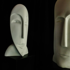 'Girl in the Moon' & 'Salt of the Earth, Hand Carved Marble Masks by MARTIN COONEY