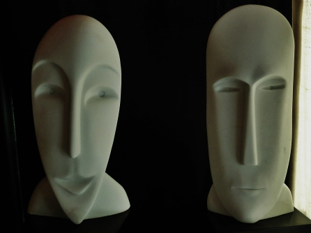 'Girl in the Moon' & 'Salt of the Earth,Sculpted Marble Masks by MARTIN COONEY