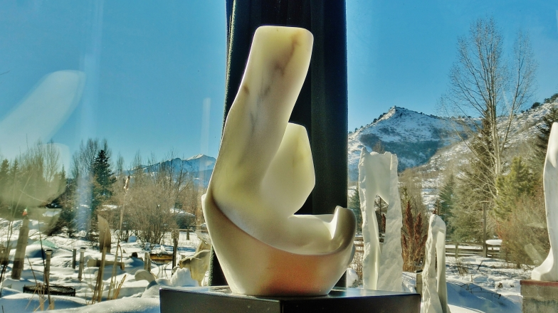 'Curvilinear Campfire', Colorado Yule Marble Sculpture by MARTIN COONEY