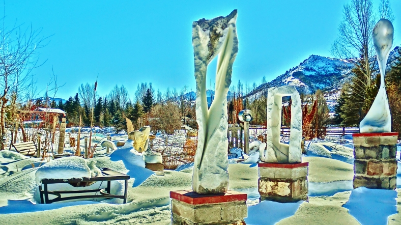 Wolf Man Jack, Oblique Perspective right, Snowgoyles, Three Faces left, Standing Stone Circle, Woody Creek CO.