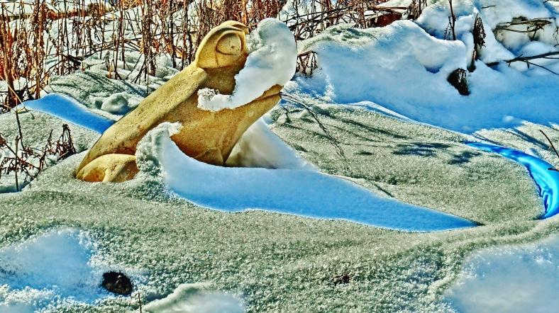 Solar Frog, Snow Sculpture, The Sculpture Garden by MARTIN COONEY, Woody Creek, Colorado