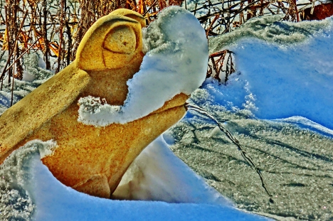 Solar Frog, Snow Sculpture, The Sculpture Garden by MARTIN COONEY, Woody Creek, Colorado