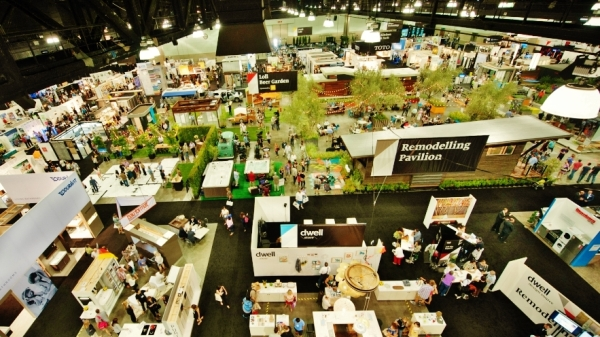 Arial view of exhibition floor at Dwell