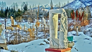 Oblique Perspective, Woody Creek Colorado, Yule Marble Sculpture by Martin Cooney