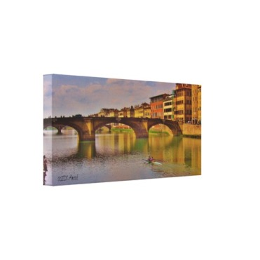 Arno River Sunset, Florence, Wrapped Canvas Print, 21 x 10, left