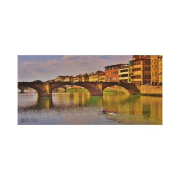 Arno River Sunset, Florence, Wrapped Canvas Print, 21 x 10,center