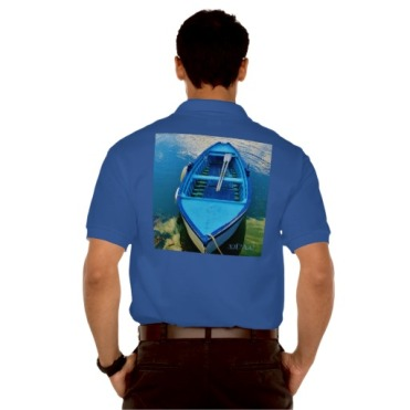 Blue Italian Rowing Boat, Men, Gildan Jersey Polo Shirt, Back, Model, Navy Blue