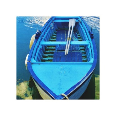 Blue Italian Rowing Boat, Wrapped Canvas Print, 10 x 10, center