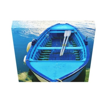 Blue Italian Rowing Boat, Wrapped Canvas Print, 10 x 10, down