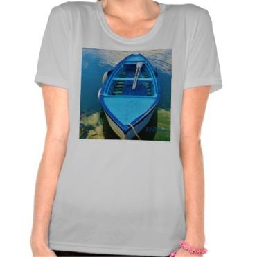 Blue Italian Wooden Rowing Boat, Women, Sport-Tek Competitor T-Shirt, Front, Silver