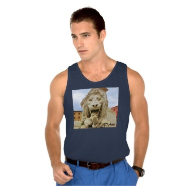 Bold Lion of Massa, Men Ultra Cotton Tank Top, Front, Model, Navy