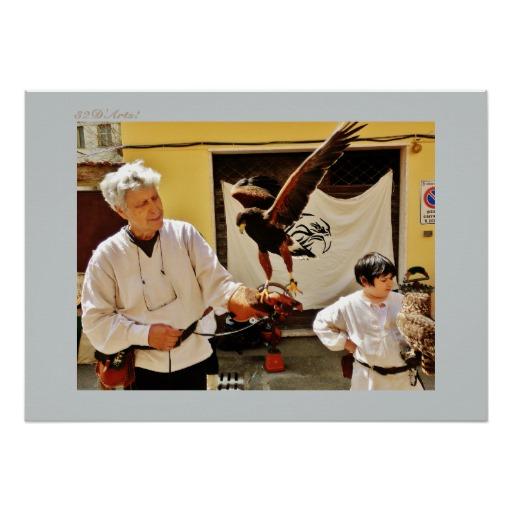 Camaiore Market Falconry Family, Poster Print, 28 x 20