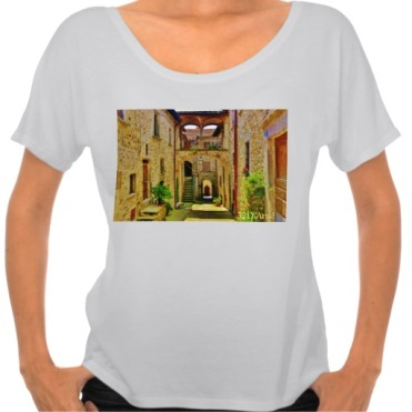 Castello di Malgrate Village Courtyard, Women, Bella Flowy Simple TShirt, Front, Marble