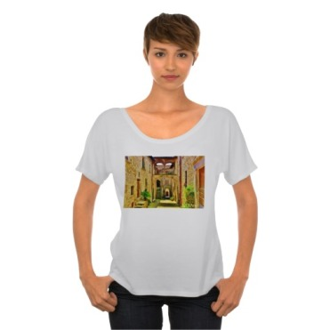 Castello di Malgrate Village Courtyard, Women, Bella Flowy Simple TShirt, Front, Model, Marble