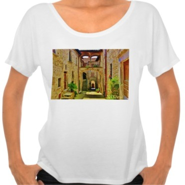 Castello di Malgrate Village Courtyard, Women, Bella Flowy Simple TShirt, Front, White