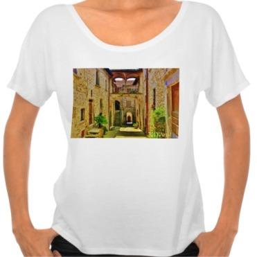 Castello di Malgrate Village Courtyard, Women, Bella Flowy Simple TShirt, Front, White