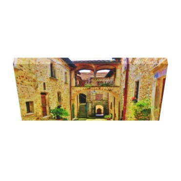 Castle di Malgrate Courtyard, Wrapped Canvas Print, down