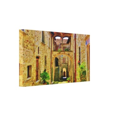 Castle di Malgrate Courtyard, Wrapped Canvas Print, left