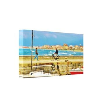 Chance Encounter, Viareggio Pier, Wrapped Canvas Print. 27x13, Left