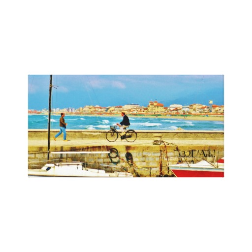 Chance Encounter, Viareggio Pier, Wrapped Canvas Print. 27x14, Center