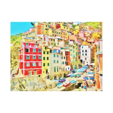 Cinque Terre Fishing Village Wrapped Canvas Print, 24 x 18, center