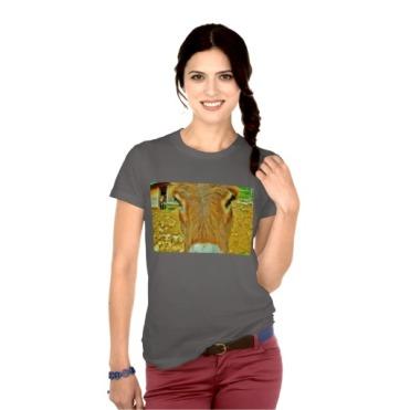 Curious Mules, Women's American Apparel Fine Jersey T-Shirt, Front, Model, Asphalt