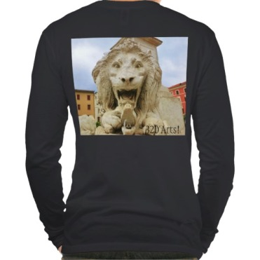 Lions of Massa, Men, Canvas Henley Long Sleeve Shirt, Back, Black