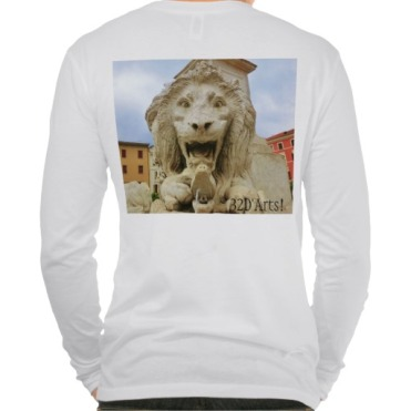 Lions of Massa, Men, Canvas Henley Long Sleeve Shirt, Back, Close-up, White
