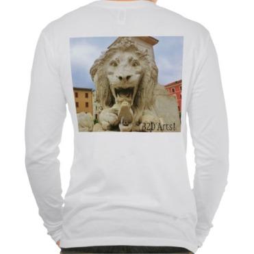 Lions of Massa, Men, Canvas Henley Long Sleeve Shirt, Back, Close-up, White