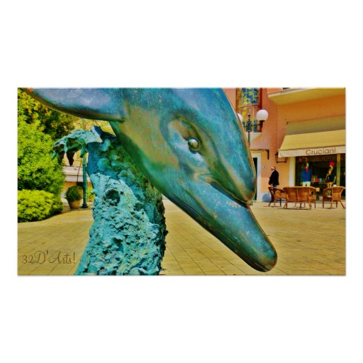 Diving Dolphin Sculpture Plaza, Poster, 28 x 16