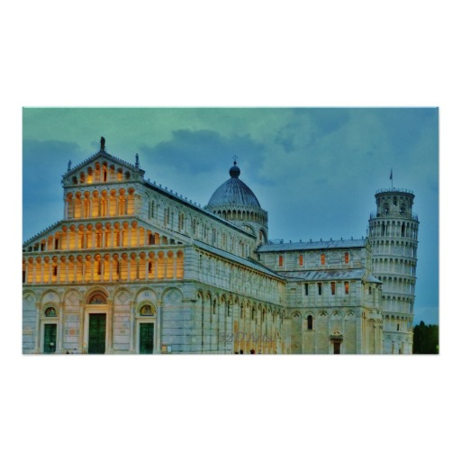Dusk Settles upon the Piazza dei Miracoli, Poster, 27 x 16