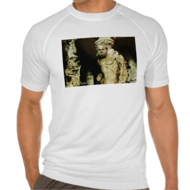 Florence Cathedral Alter Statue, Men, Sport-Tek Fitted Performance T-Shirt, Front, Close-up, White