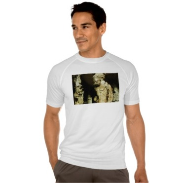 Florence Cathedral Alter Statue, Men, Sport-Tek Fitted Performance T-Shirt, Front, Model, White