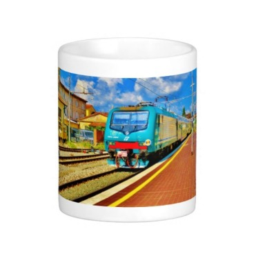 Florence Train Arrival at Lucca Railway Station, Classic Mug, Center