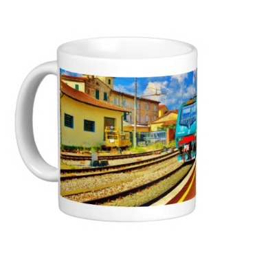 Florence Train Arrival at Lucca Railway Station, Classic Mug, Left