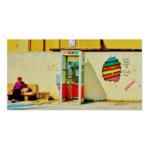 Graffiti Telephone Booth, Viareggio, Poster Print, 23 x 12