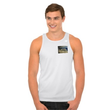 Head in the Clouds, Men, New Balance Tempo Running Tank Top, Front, Model, White
