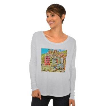 Italian Fishing Village, Cinque Terre, Women's Bella Flowy Long Sleeve T-Shirt, Front, Model, White