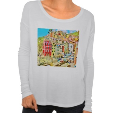 Italian Fishing Village, Cinque Terre, Women's Bella Flowy Long Sleeve T-Shirt, Front, White