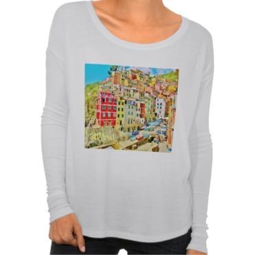 Italian Fishing Village, Cinque Terre, Women's Bella Flowy Long Sleeve T-Shirt, Front, White