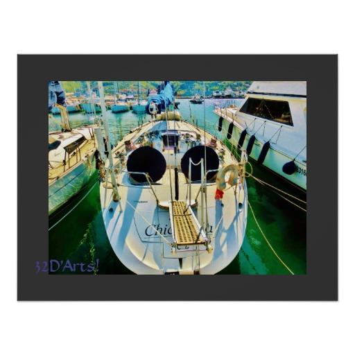 La Spezia Harbor Sailboat Gangplank, Poster, 26 x 20