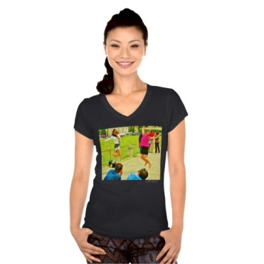 Leaning Tower Leaping Tourists, Women, Bella Jersey V-Neck T-Shirt, Front, Model, Black