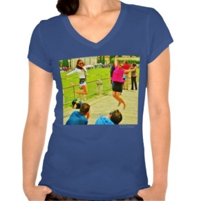 Leaning Tower Leaping Tourists, Women, Bella Jersey V-Neck T-Shirt, Front, Plum