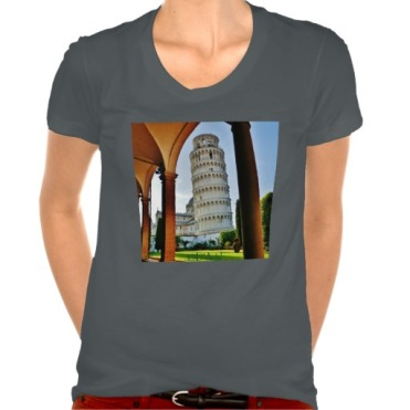 Leaning Tower of Pisa at Dusk, Women, American Apparel Poly-Cotton Scoop Neck T-Shirt, Front, Asphalt