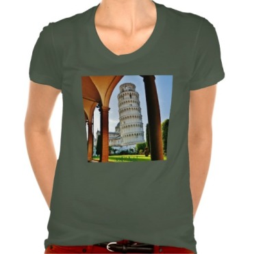 Leaning Tower of Pisa at Dusk, Women, American Apparel Poly-Cotton Scoop Neck T-Shirt, Front, Heather Forest