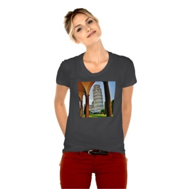 Leaning Tower of Pisa at Dusk, Women, American Apparel Poly-Cotton Scoop Neck T-Shirt, Front, Model, Heather Black