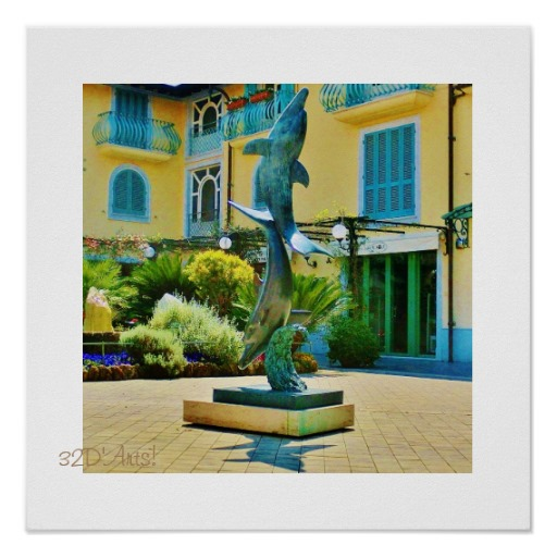 Leaping Dolphin Plaza, Poster Print, 16 x 16
